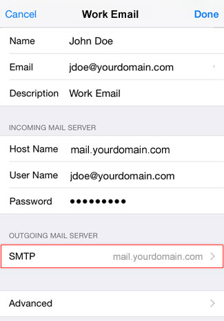 Email Ios 11 Tap Smtp