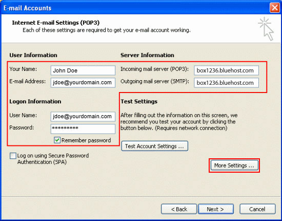 Email Outlook 2003 03 Pop Settings
