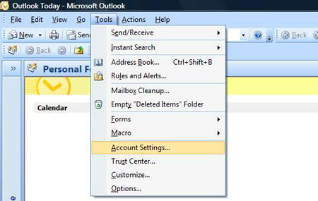 Email Outlook 2007 01 Tools Account Settings