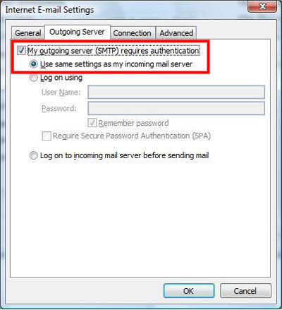 Email Outlook 2007 05 Outgoing Settings