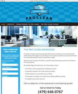 Web design web development HTML CSS PHP Javascript Pro Clean Janitorial Service Fort Smith Arkansas