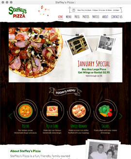Web design web development content management drupal jquery slideshow Steffey's Pizza Lavaca Arkansas